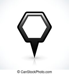Black blank map pin sign hexagon location icon - Blank map...