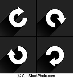 White arrow icon rotation, repeat, reload sign - 4 arrow...