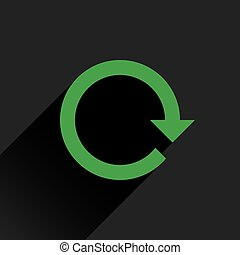 Flat green arrow icon rotation, reset, repeat sign