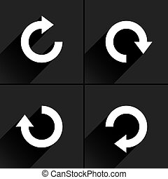 White arrow icon refresh, rotation, reload sign - 4 arrow...