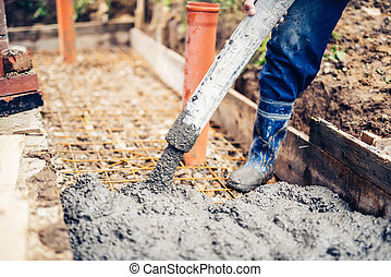 construction site details - building sidewalks and pouring...