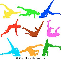 Silhouettes breakdancer on a white background Vector...