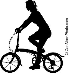 Silhouette of a cyclist girl. vector illustration