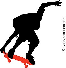 Silhouettes a skateboarder performs jumping. Vector illustration