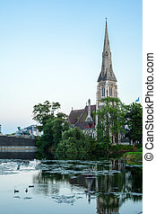 St. Alban's Church - View of St. Alban's Church with a Lake...