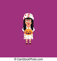 Nurse holding a pumpkin for halloween in a flat style