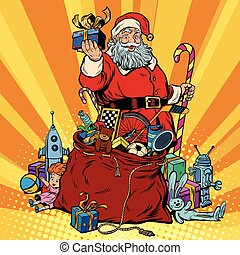 Santa Claus with bag of gifts. Christmas and New year, pop...