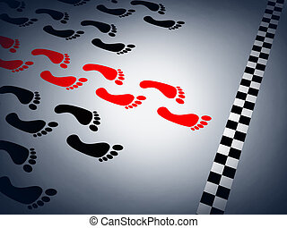 Abstract sprint and red footstep (done in 3d)