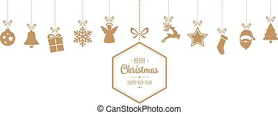 merry christmas hanging gold ornaments background