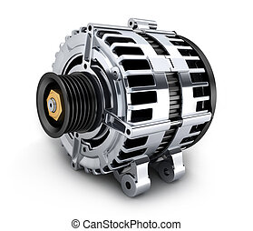 Car generator on white background done in 3d