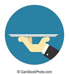 Waiter hand holding tray