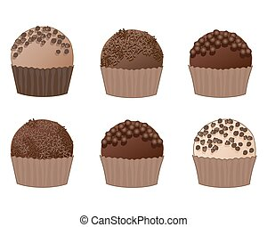 chocolate truffles - a vector illustration in eps 10 format...
