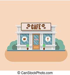Cafe building Vector flat illustration - Cafe building shop...