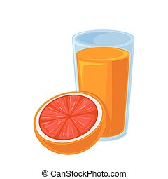 Vector breakfast food . Icon of healthy food orange juice...