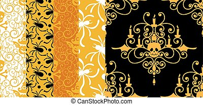 Happy Halloween background. Set of seamless patterns