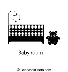 Home and hotel baby room interior with furniture Line vector...