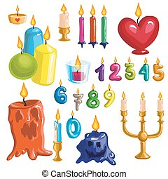 Candles - Set of original colorful candles. Vector...