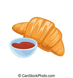 Vector breakfast food . Icon of healthy food croissant....
