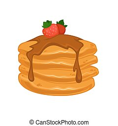Vector breakfast food . Icon of healthy food pancakes....