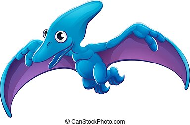 Cute Pterosaur Cartoon Flying Dinosaur - A cute Pteranodon...
