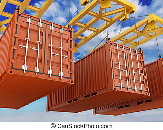 Loading Container - Loading cargo Container on white...