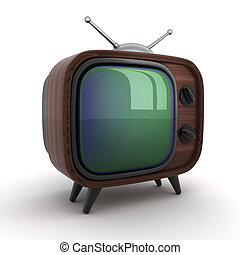 """Old wooden TV - Symbol """"TV"""" on a white background (done..."""