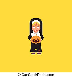 Bloody nun with pumpkin character for halloween in a flat...