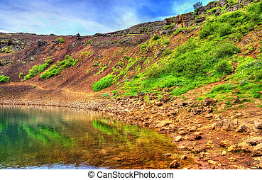 Kerid, a volcanic crater lake in Iceland - Kerid, a volcanic...
