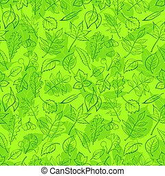 Leaves of Plants Pictogram, Seamless - Seamless Background,...