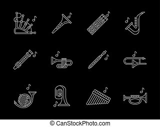 Woodwind music white line vector icons set - Collection of...