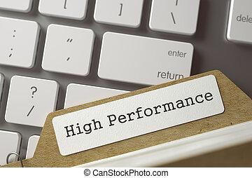 Index Card High Performance. 3D. - High Performance written...