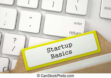 File Card with Startup Basics 3D Illustration - Yellow...