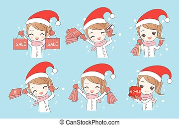cartoon woman shopping happily in winter with christmas
