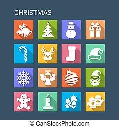 Christmas long shadows Icon set - Christmas with long...