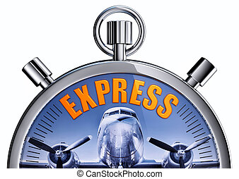 express - 3D rendering of a stopwatch with a express icon