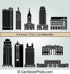 Kansas City landmarks and monuments isolated on blue...