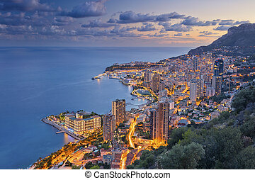 Monaco. - Image of Monte Carlo, Monaco during summer sunset.