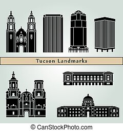 Tucson landmarks and monuments isolated on blue background...