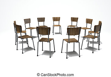 Group Therapy Chairs - A 3D render concept of a group of...