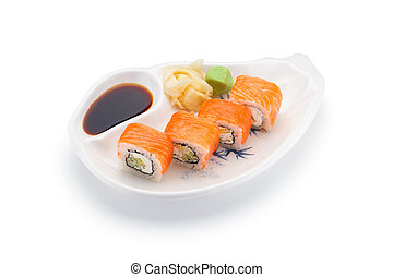 Salmon (philadelphia) sushi roll with ginger wasabi and soy...
