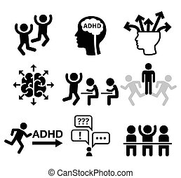 ADHD icons - Health icons set - people wish ADD or ADHD...