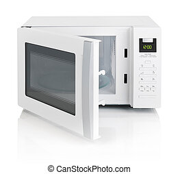 Microwave oven - White microwave oven with open door,...