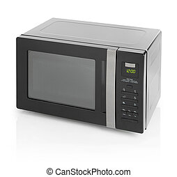 Microwave oven - Black microwave oven isolated on white