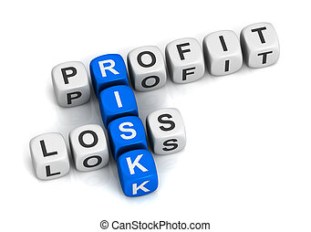 profit risk loss cubes concept  3d illustration