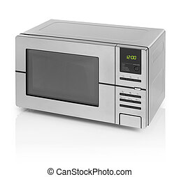 Microwave oven - Silver metallic microwave oven isolated on...