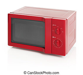 Microwave oven - Red microwave oven isolated on white