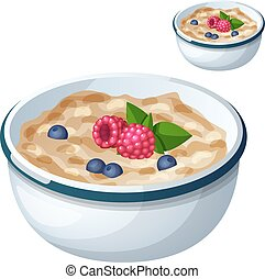 Oatmeal isolated on white background. Cartoon Vector Icon....