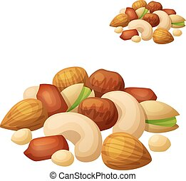 Nuts isolated on white background. Cartoon Vector Icon....