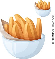 Sweet potato fries Detailed vector icon isolated on white...