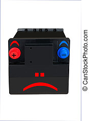 Flat battery - Jokey sad face on old car battery, Needs an...